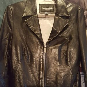 Kenneth Cole Black Genuine Leather Zipper Jacket